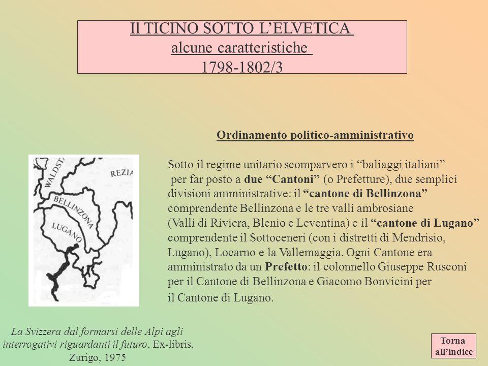 Il TICINO SOTTO L'ELVETICA alcune caratteristiche 1798-1802/3