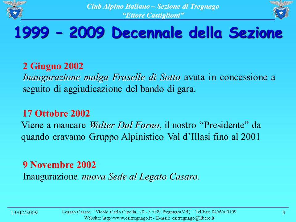 1999 – 2009 Decennale della Sezione
