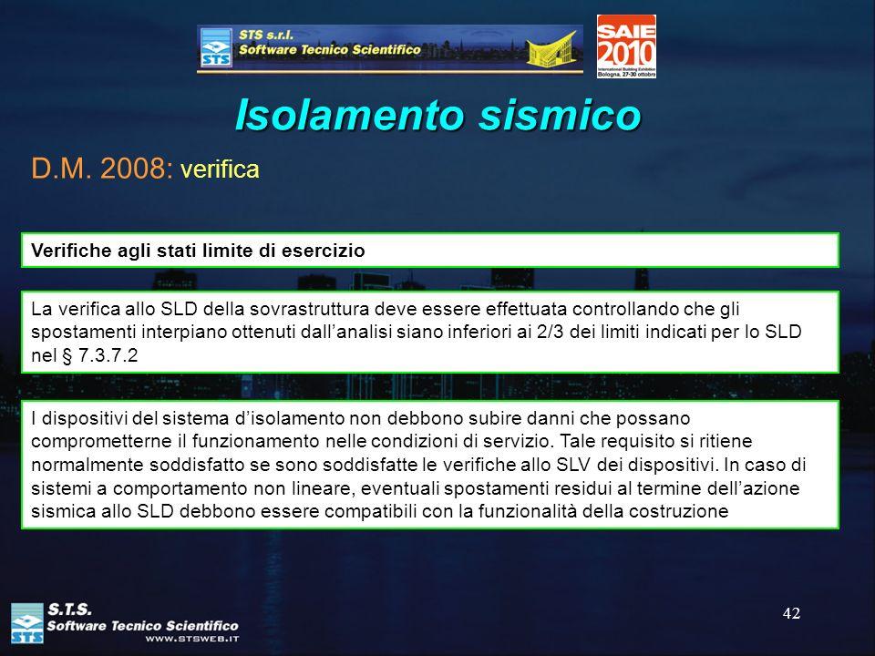 Isolamento sismico D.M. 2008: verifica