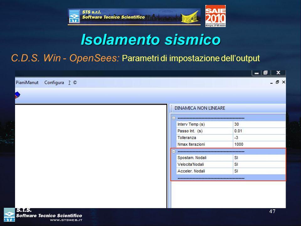 Isolamento sismico C.D.S. Win - OpenSees: Parametri di impostazione dell'output