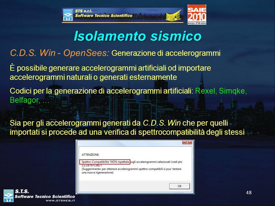 Isolamento sismico C.D.S. Win - OpenSees: Generazione di accelerogrammi.