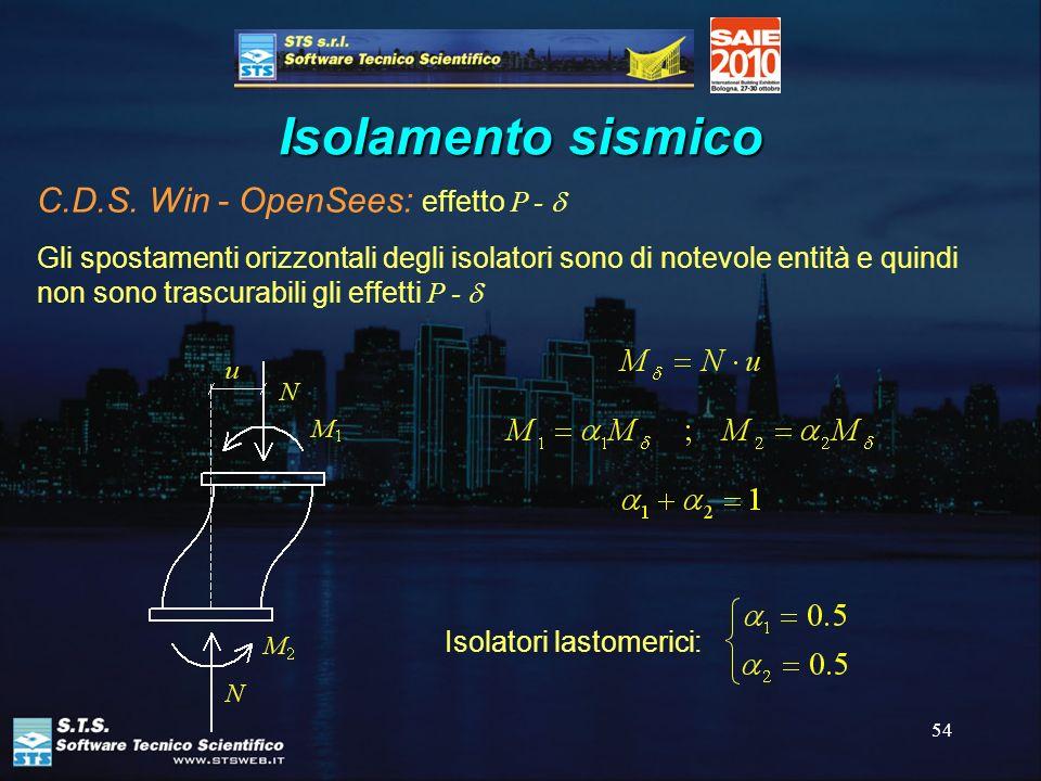 Isolamento sismico C.D.S. Win - OpenSees: effetto P - d