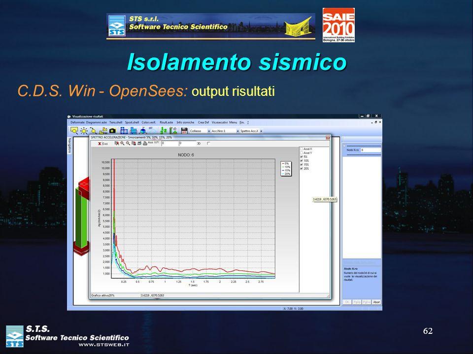 Isolamento sismico C.D.S. Win - OpenSees: output risultati