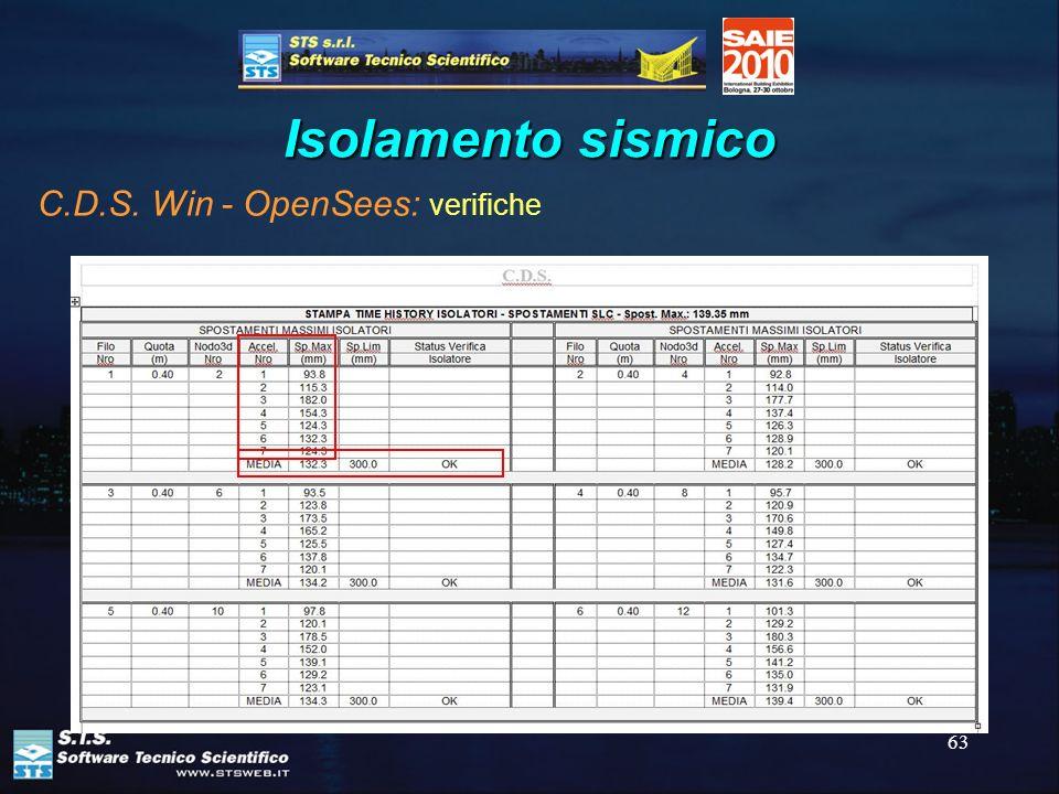 Isolamento sismico C.D.S. Win - OpenSees: verifiche