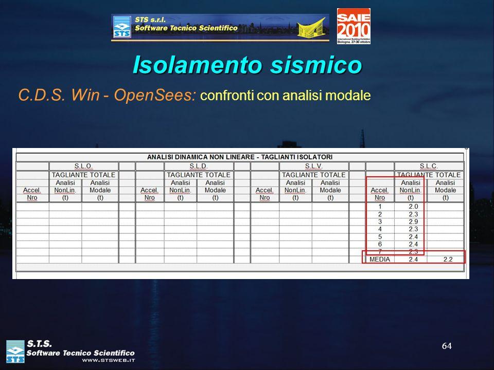 Isolamento sismico C.D.S. Win - OpenSees: confronti con analisi modale