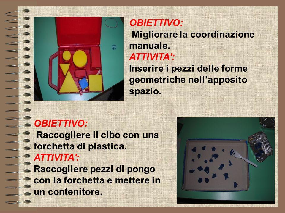 OBIETTIVO: Migliorare la coordinazione manuale. ATTIVITA : Inserire i pezzi delle forme geometriche nell'apposito spazio.