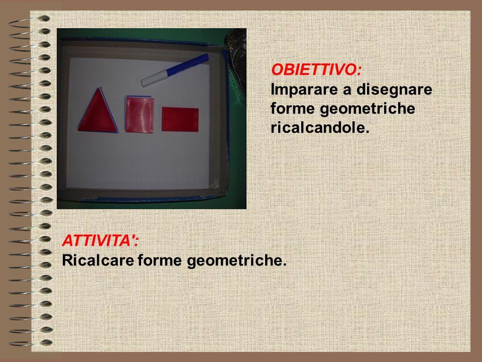 OBIETTIVO: Imparare a disegnare forme geometriche ricalcandole.