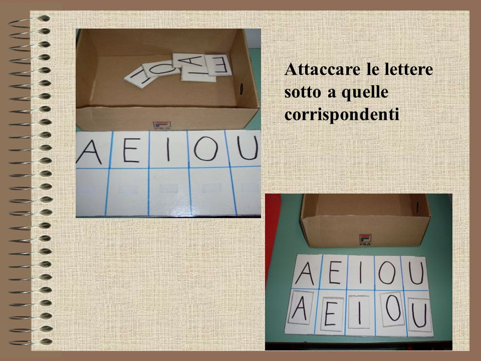 Attaccare le lettere sotto a quelle corrispondenti
