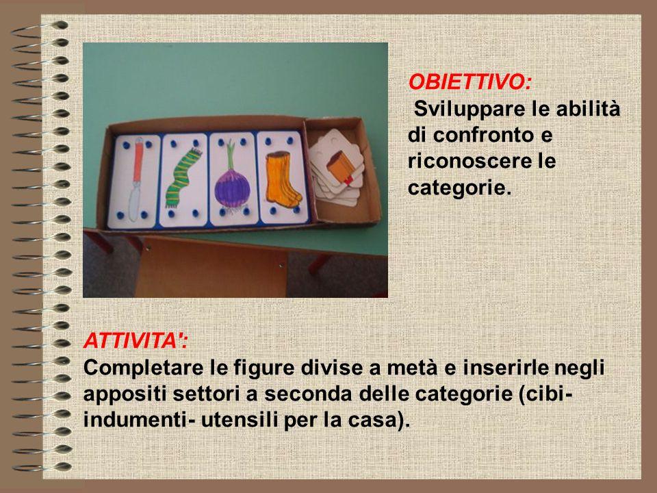 OBIETTIVO: Sviluppare le abilità di confronto e riconoscere le categorie. ATTIVITA :