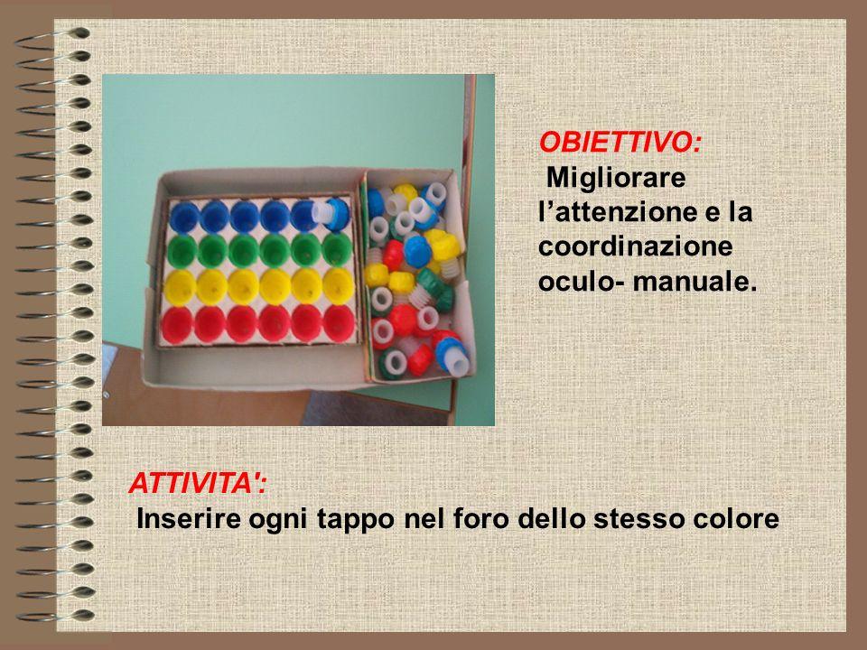 OBIETTIVO: Migliorare l'attenzione e la coordinazione oculo- manuale.