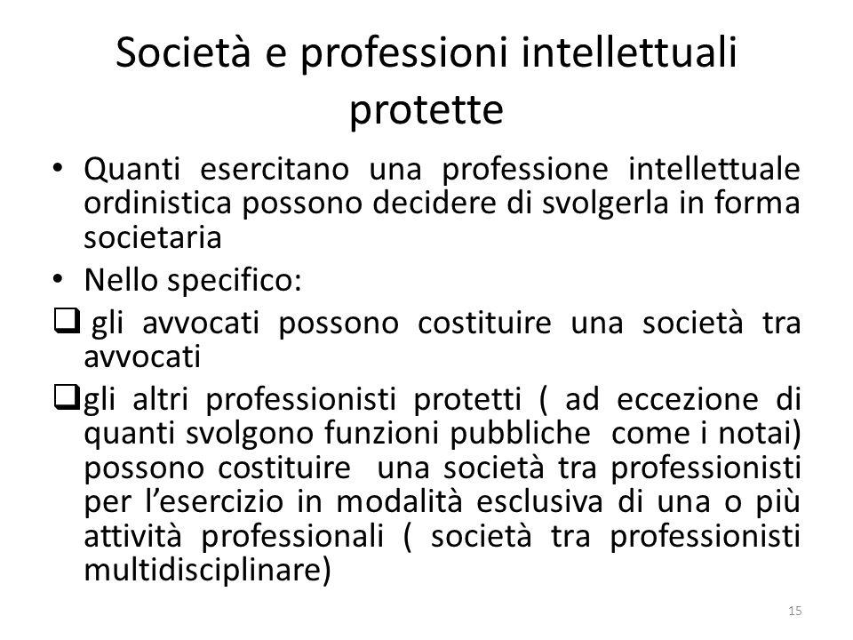 Società e professioni intellettuali protette