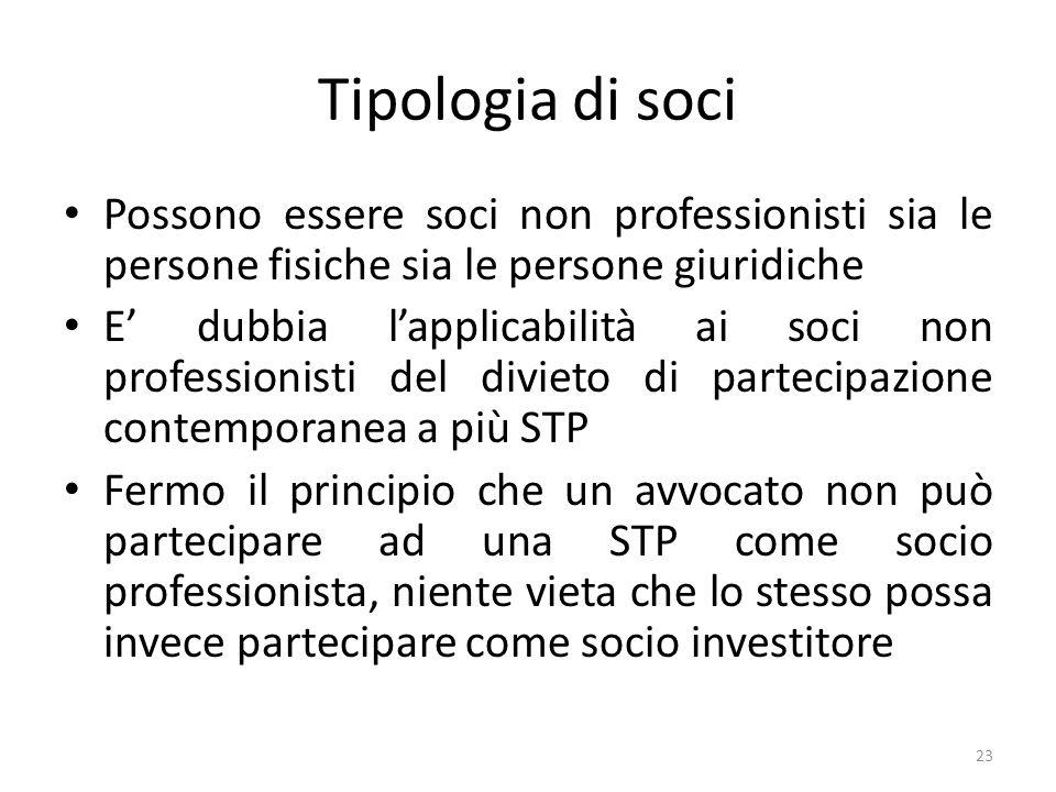 Tipologia di soci Possono essere soci non professionisti sia le persone fisiche sia le persone giuridiche.