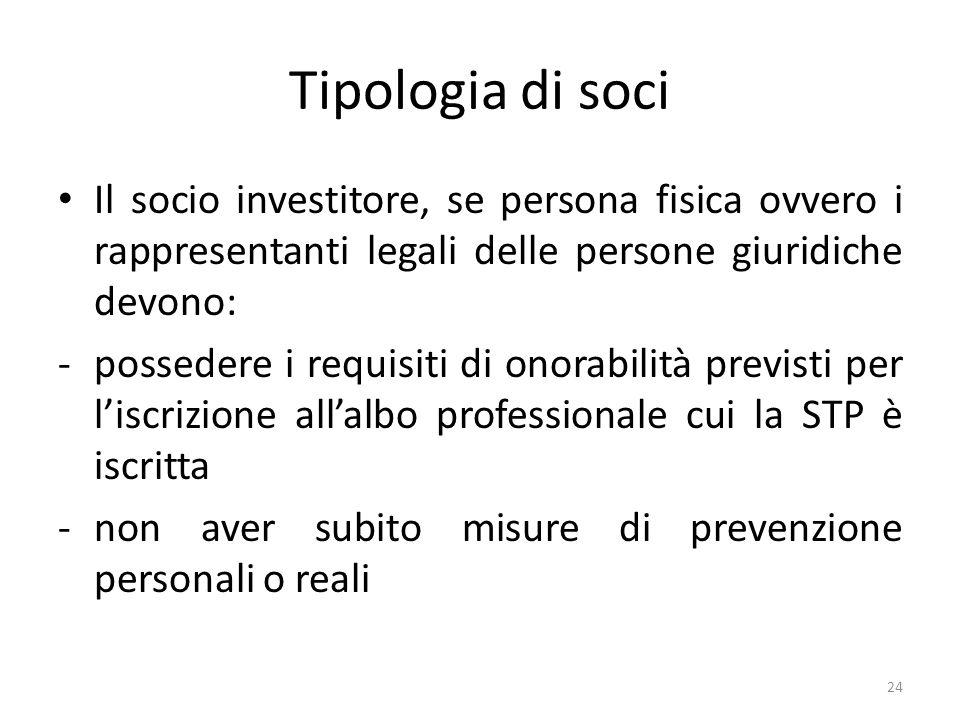 Tipologia di soci Il socio investitore, se persona fisica ovvero i rappresentanti legali delle persone giuridiche devono: