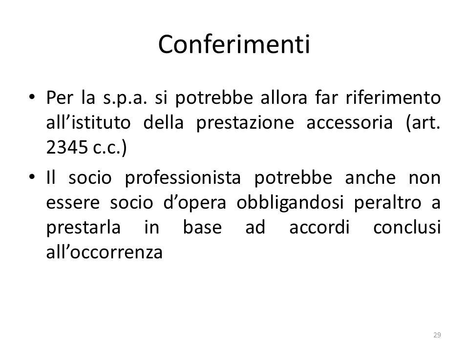 Conferimenti Per la s.p.a. si potrebbe allora far riferimento all'istituto della prestazione accessoria (art. 2345 c.c.)