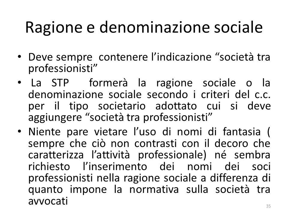 Ragione e denominazione sociale
