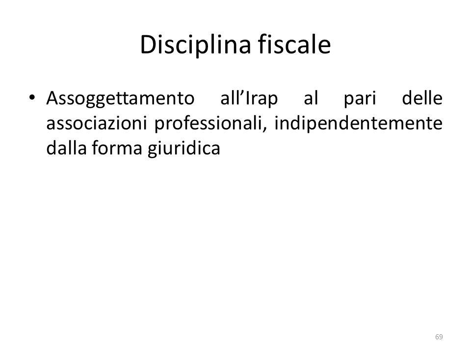 Disciplina fiscale Assoggettamento all'Irap al pari delle associazioni professionali, indipendentemente dalla forma giuridica.