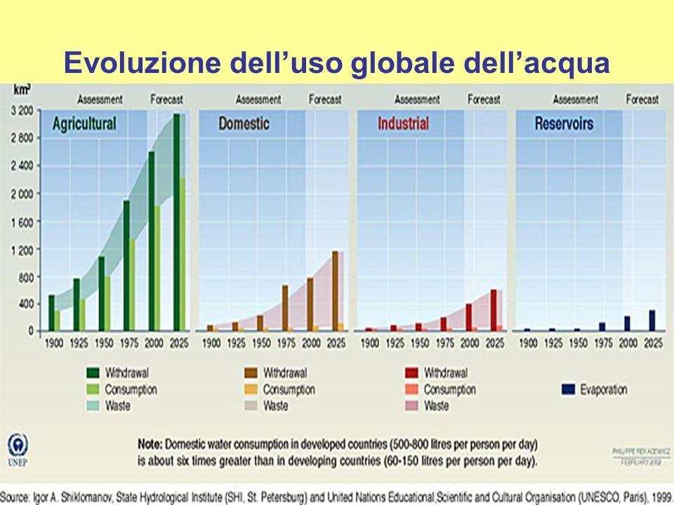 Evoluzione dell'uso globale dell'acqua