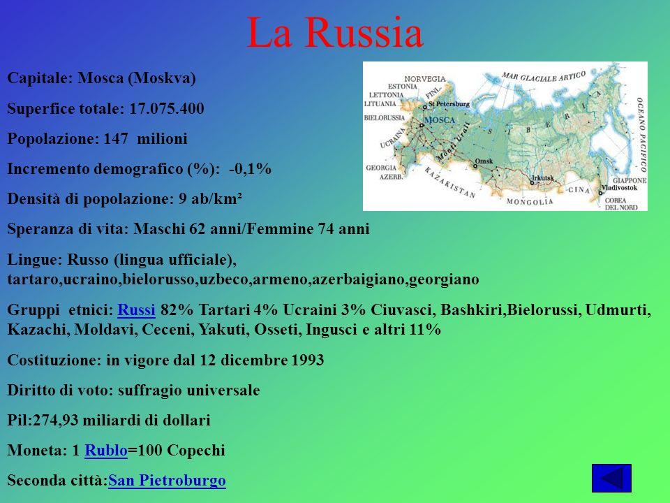 La Russia Capitale: Mosca (Moskva) Superfice totale: 17.075.400