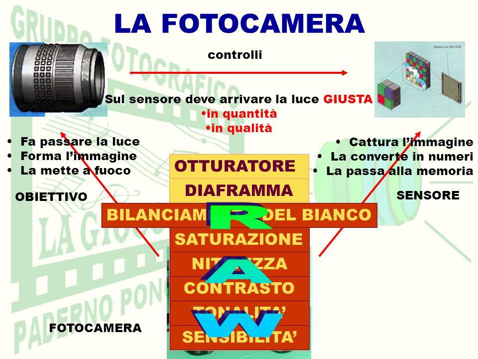 LA FOTOCAMERA RAW OTTURATORE DIAFRAMMA BILANCIAMENTO DEL BIANCO