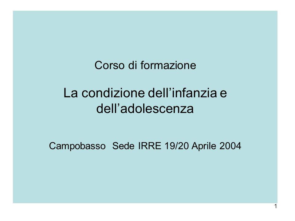 Corso di formazione La condizione dell'infanzia e dell'adolescenza Campobasso Sede IRRE 19/20 Aprile 2004