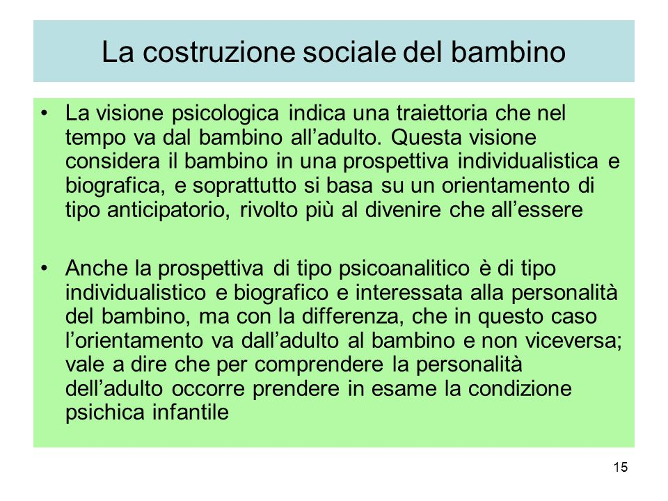 La costruzione sociale del bambino