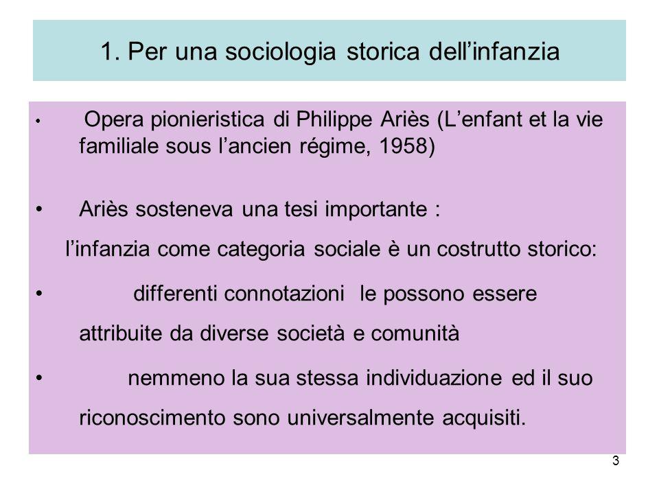 1. Per una sociologia storica dell'infanzia