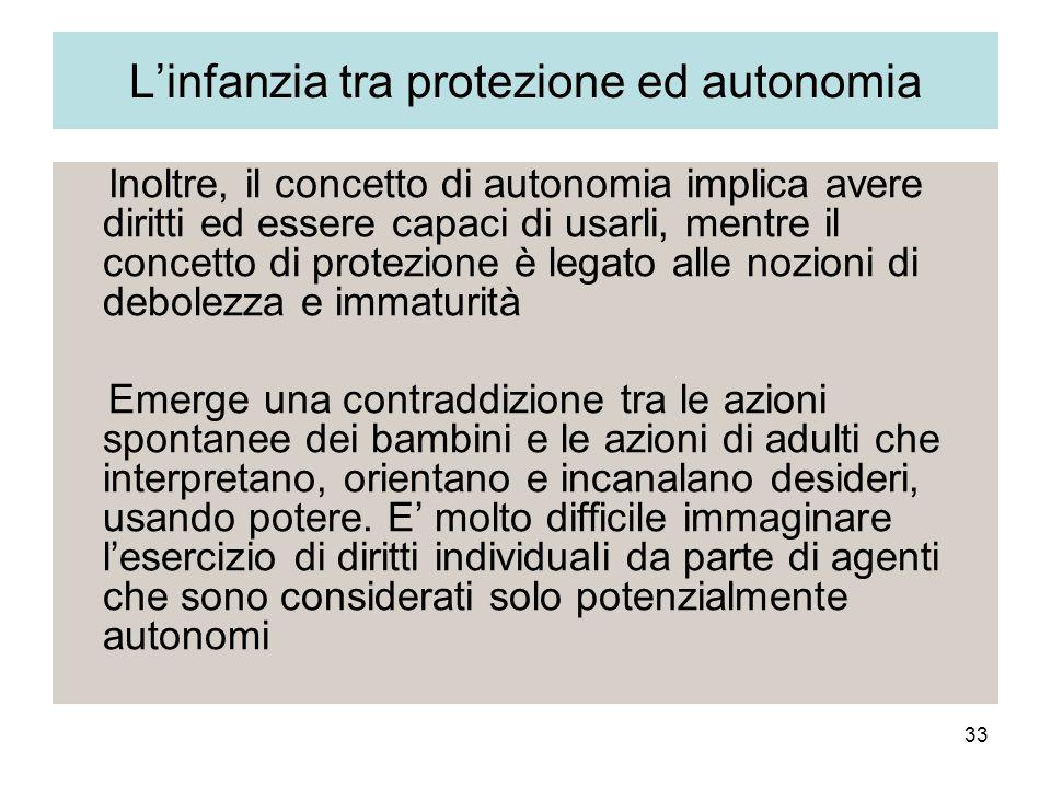 L'infanzia tra protezione ed autonomia