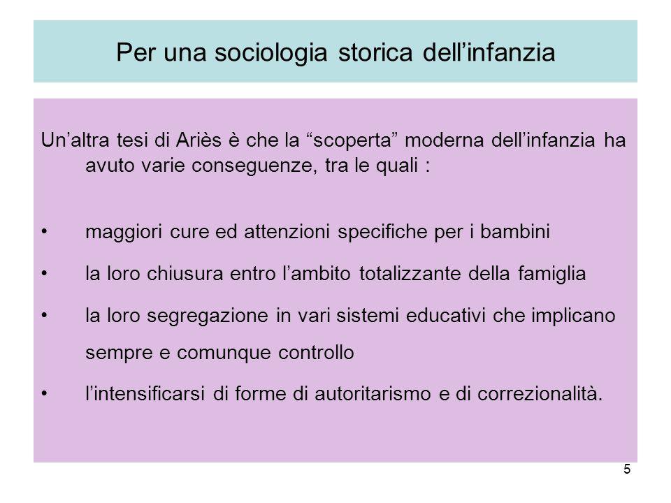 Per una sociologia storica dell'infanzia
