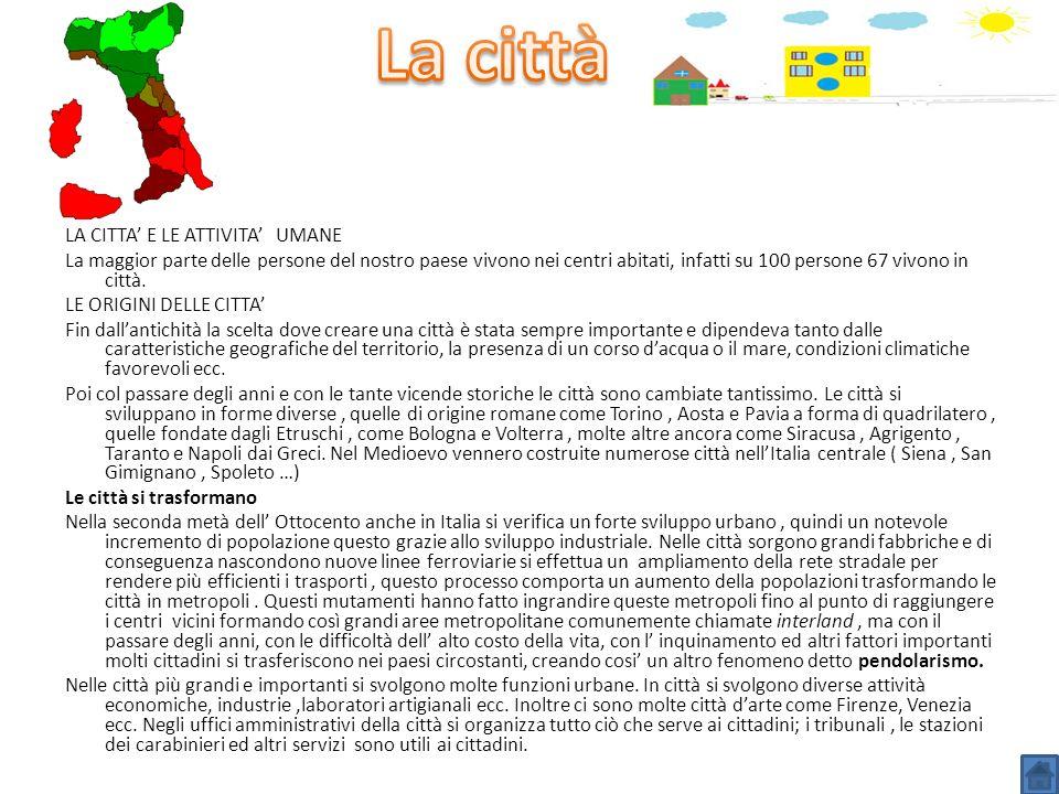 La città LA CITTA' E LE ATTIVITA' UMANE