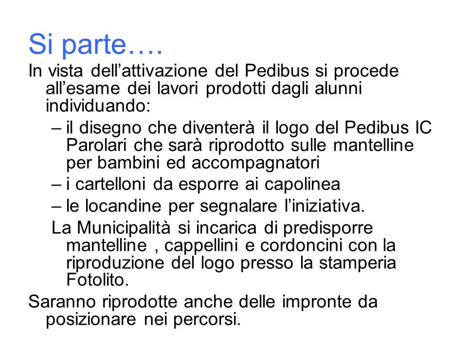 Si parte…. In vista dell'attivazione del Pedibus si procede all'esame dei lavori prodotti dagli alunni individuando: