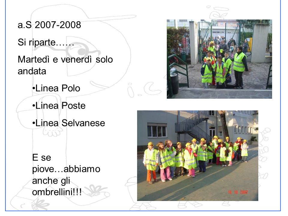 a.S 2007-2008 Si riparte…… Martedì e venerdì solo andata. Linea Polo. Linea Poste. Linea Selvanese.
