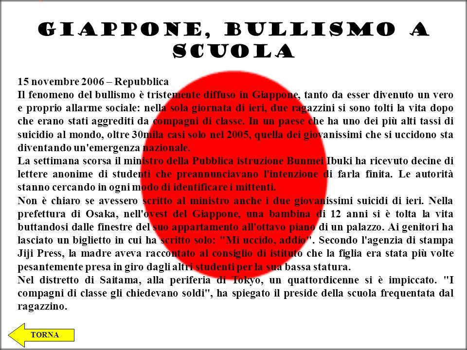 GIAPPONE, BULLISMO A SCUOLA