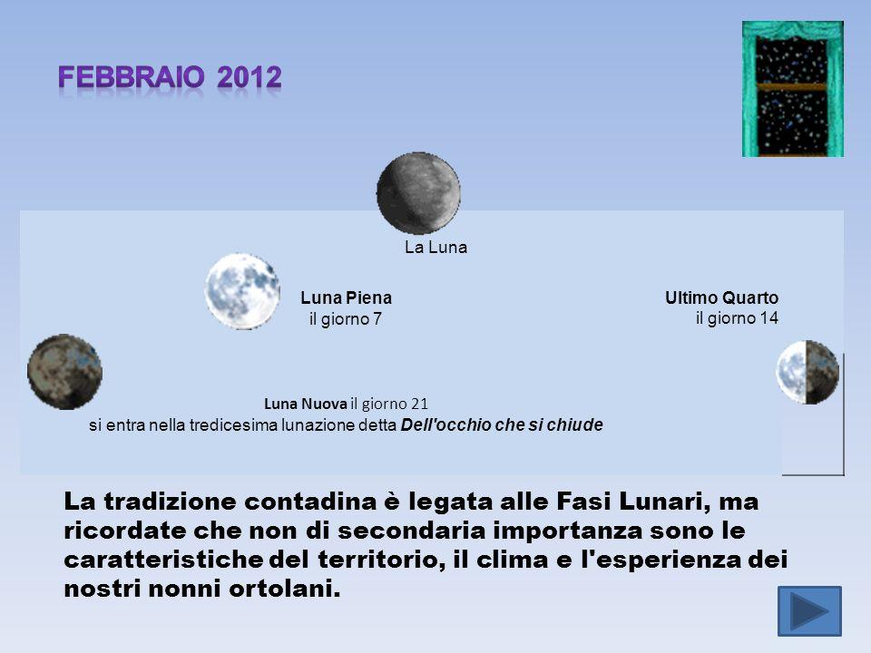 febbraio 2012 La Luna. Luna Piena il giorno 7. Ultimo Quarto il giorno 14.