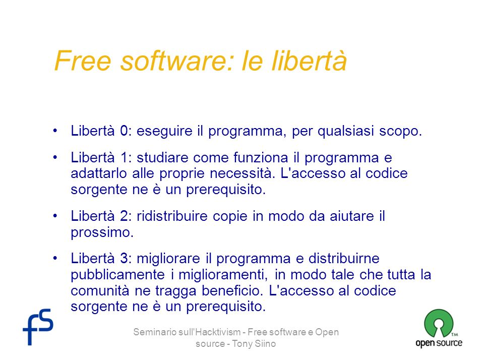 Free software: le libertà