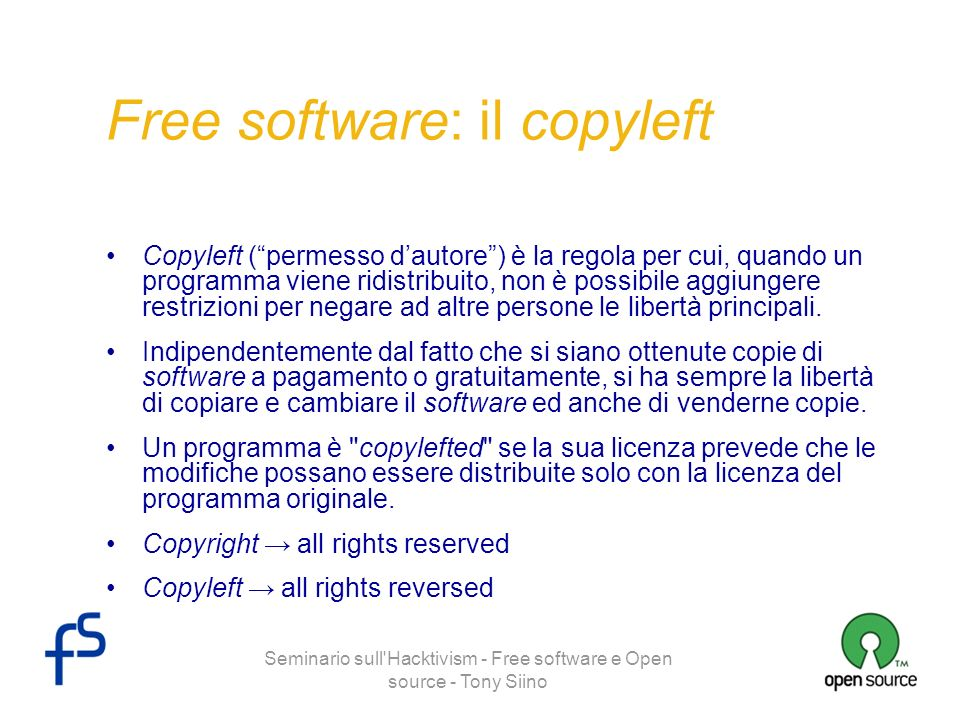 Free software: il copyleft