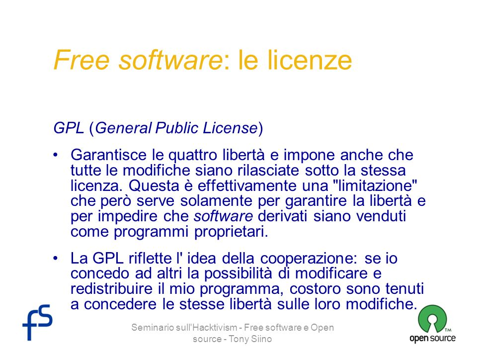 Free software: le licenze