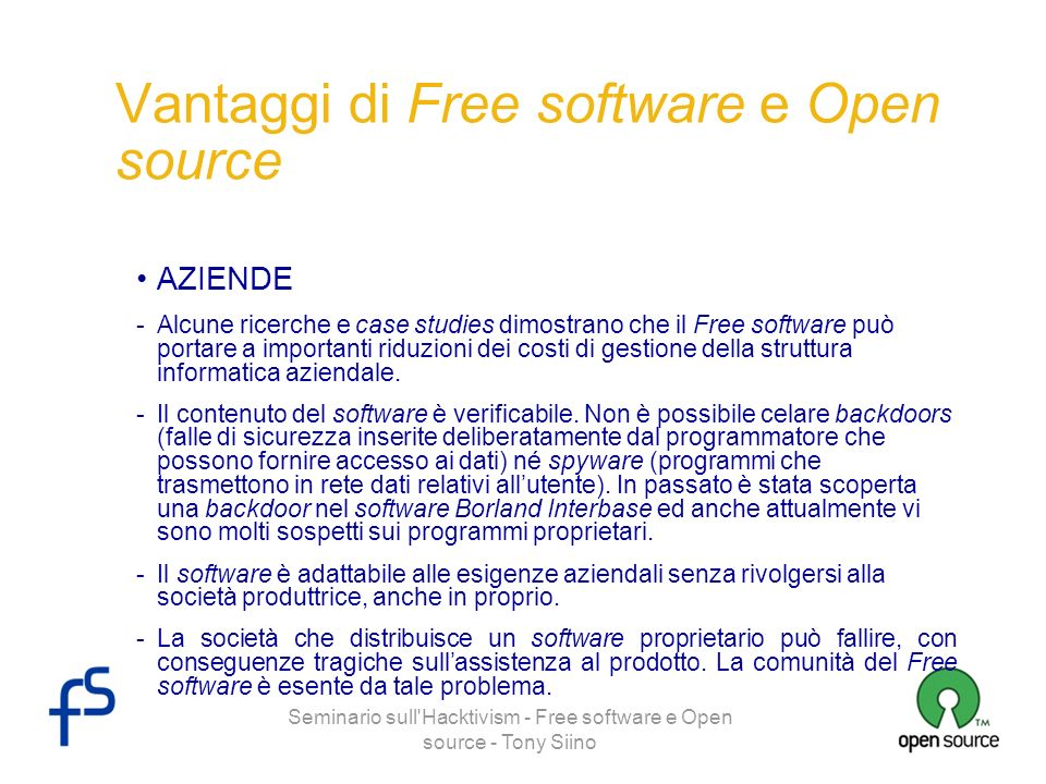 Vantaggi di Free software e Open source