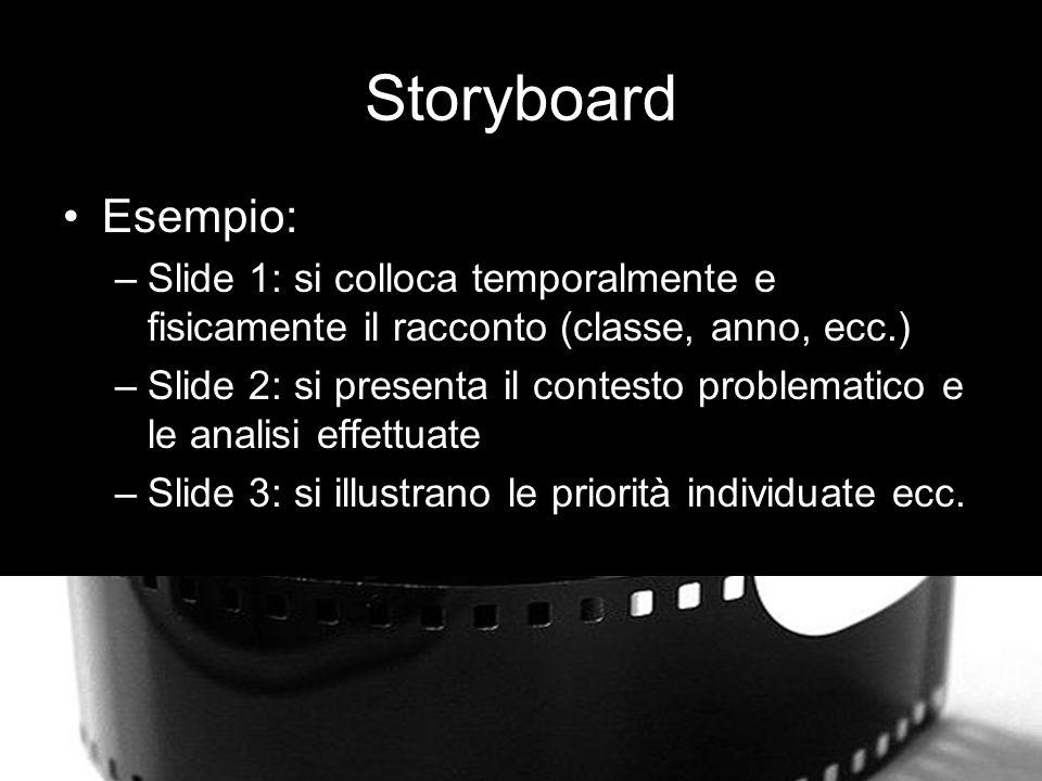 Storyboard Esempio: Slide 1: si colloca temporalmente e fisicamente il racconto (classe, anno, ecc.)
