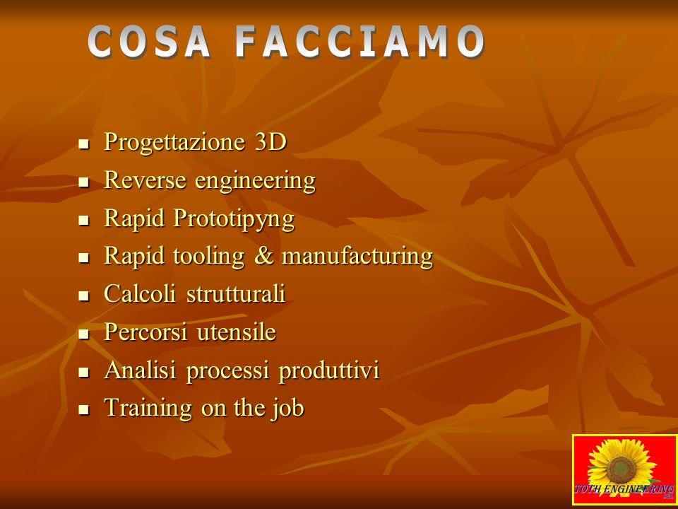 COSA FACCIAMO Progettazione 3D Reverse engineering Rapid Prototipyng