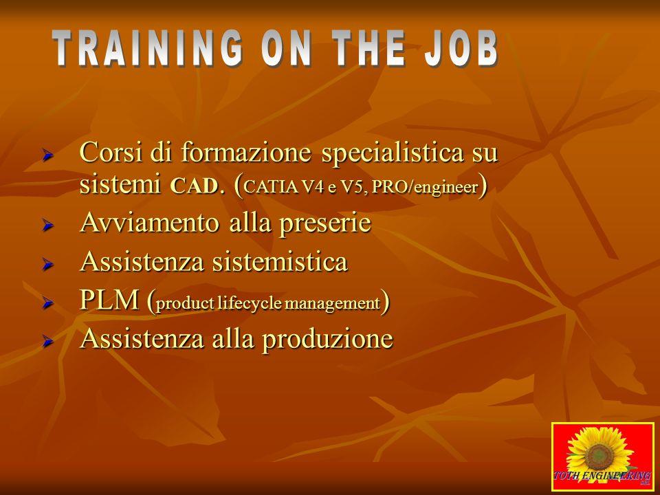 TRAINING ON THE JOBCorsi di formazione specialistica su sistemi CAD. (CATIA V4 e V5, PRO/engineer) Avviamento alla preserie.