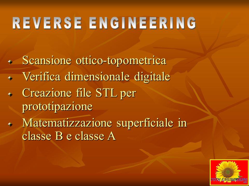 REVERSE ENGINEERING Scansione ottico-topometrica. Verifica dimensionale digitale. Creazione file STL per prototipazione.