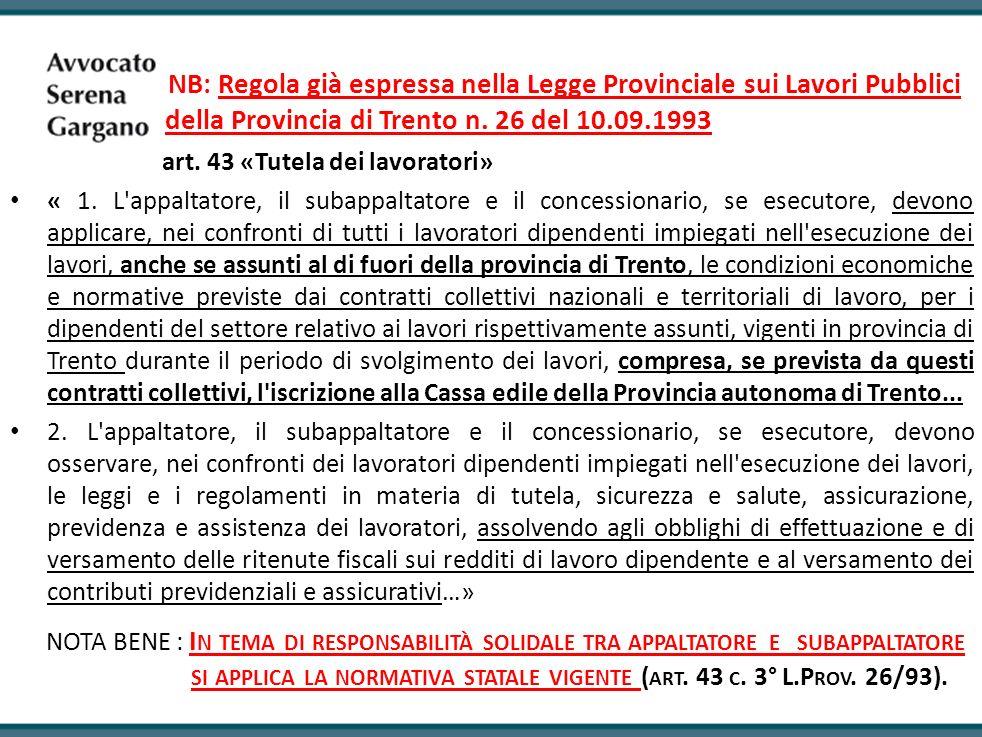 della Provincia di Trento n. 26 del 10.09.1993