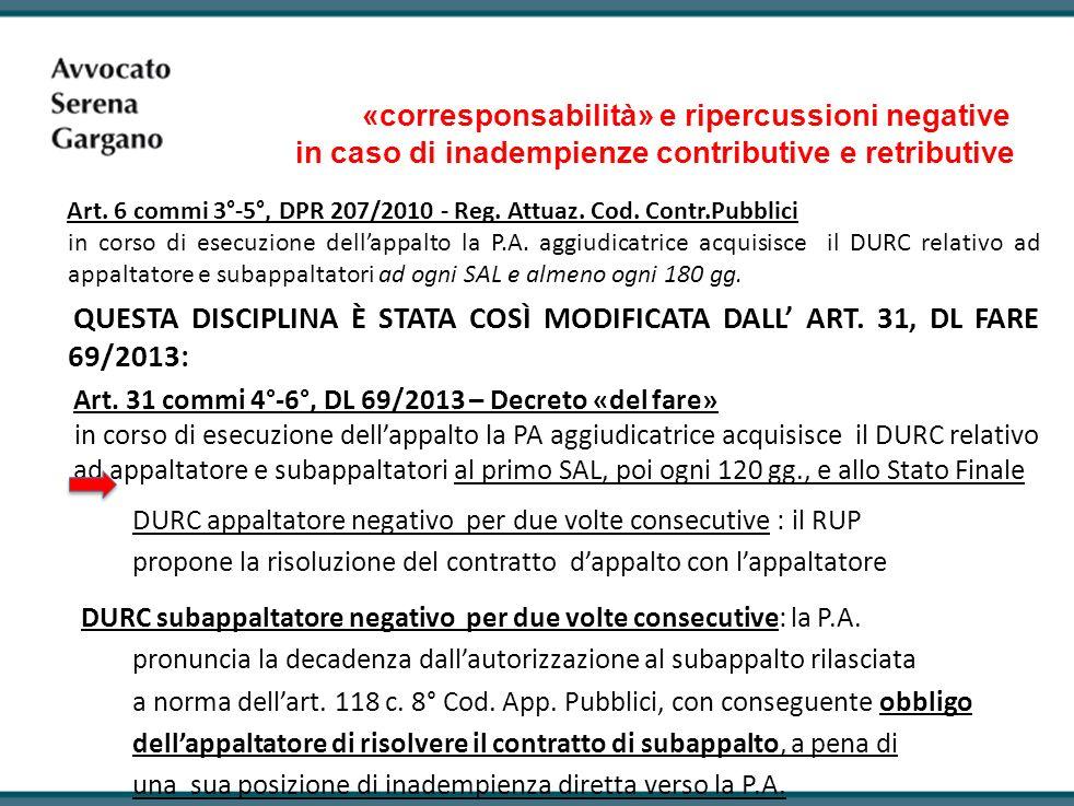 «corresponsabilità» e ripercussioni negative in caso di inadempienze contributive e retributive