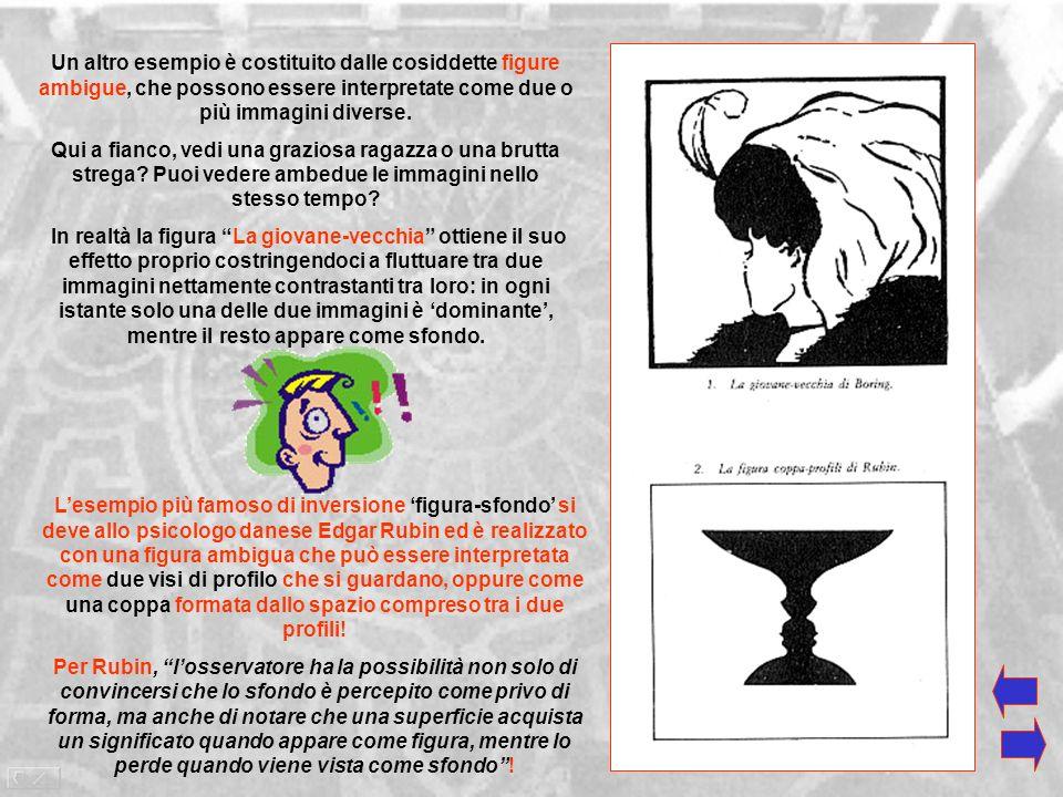 Un altro esempio è costituito dalle cosiddette figure ambigue, che possono essere interpretate come due o più immagini diverse.