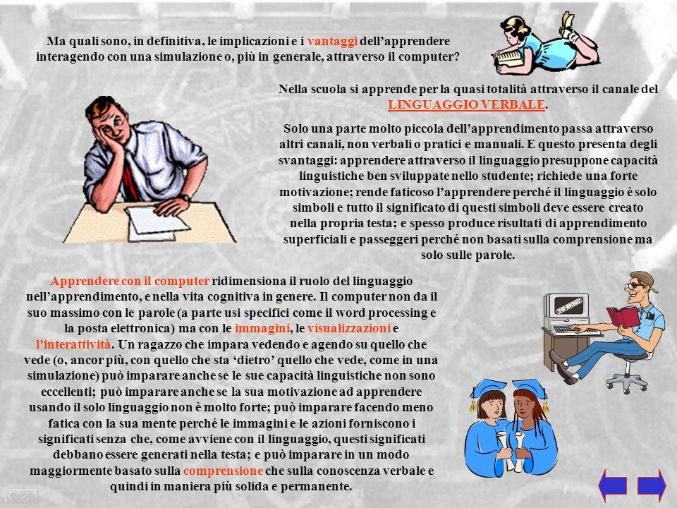 Ma quali sono, in definitiva, le implicazioni e i vantaggi dell'apprendere interagendo con una simulazione o, più in generale, attraverso il computer