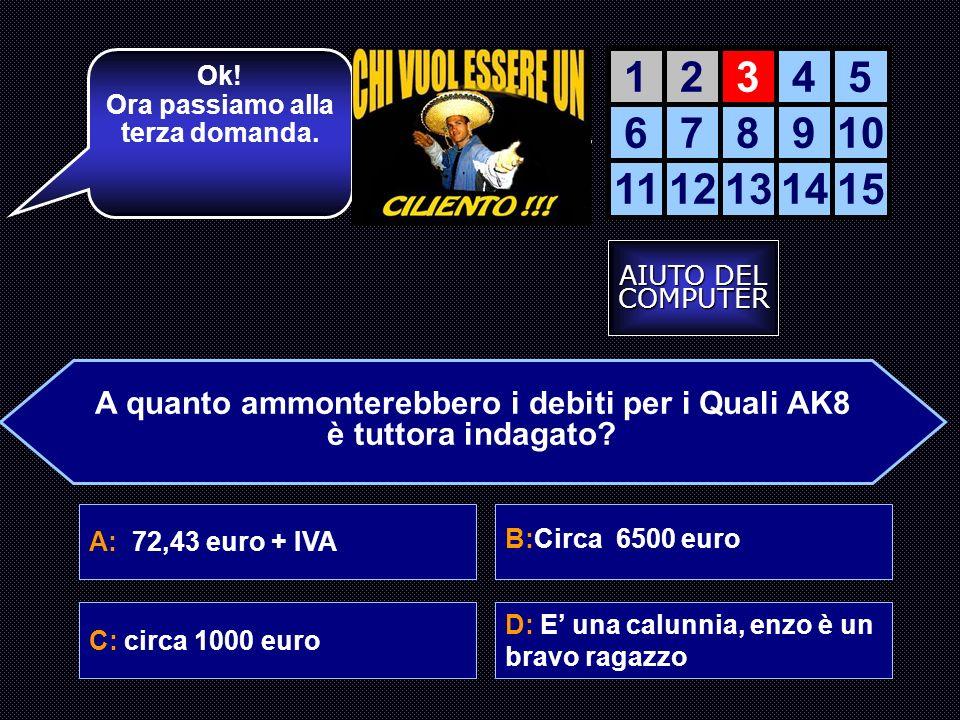 Ok! Ora passiamo alla terza domanda. 1. 2. 3. 4. 5. 6. 7. 8. 9. 10. 11. 12. 13. 14. 15.