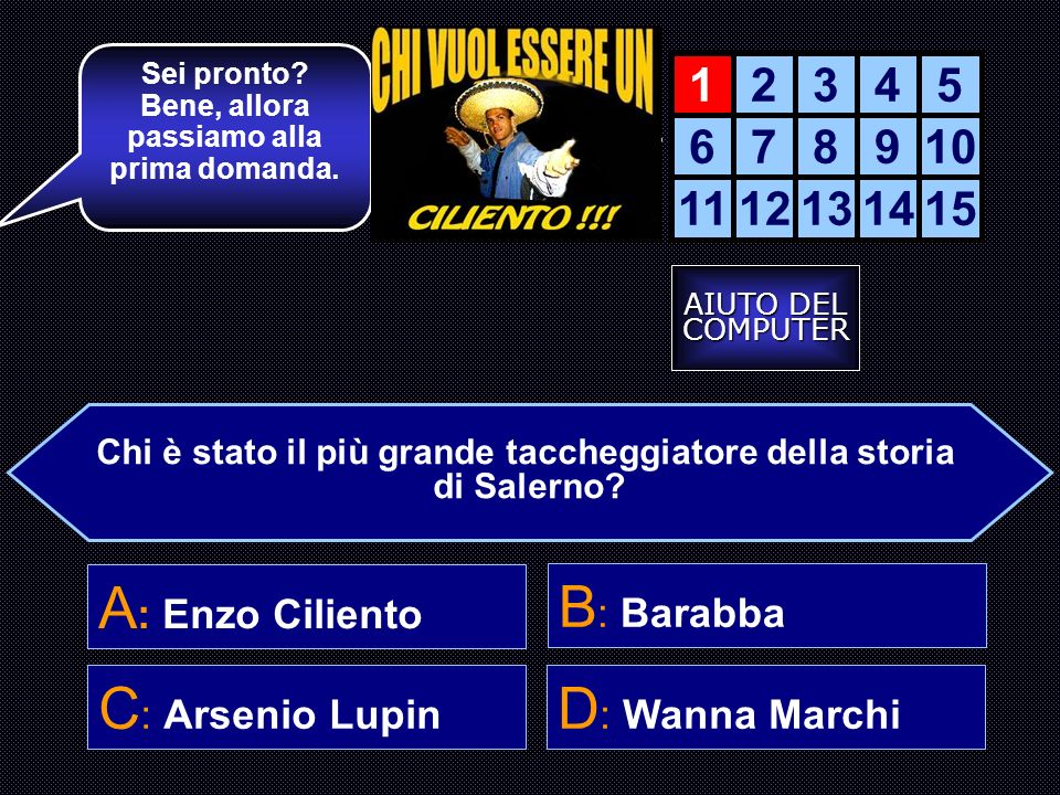 A: Enzo Ciliento B: Barabba C: Arsenio Lupin D: Wanna Marchi 1 2 3 4 5