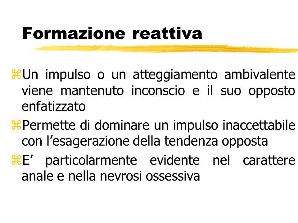 Formazione reattiva Un impulso o un atteggiamento ambivalente viene mantenuto inconscio e il suo opposto enfatizzato.