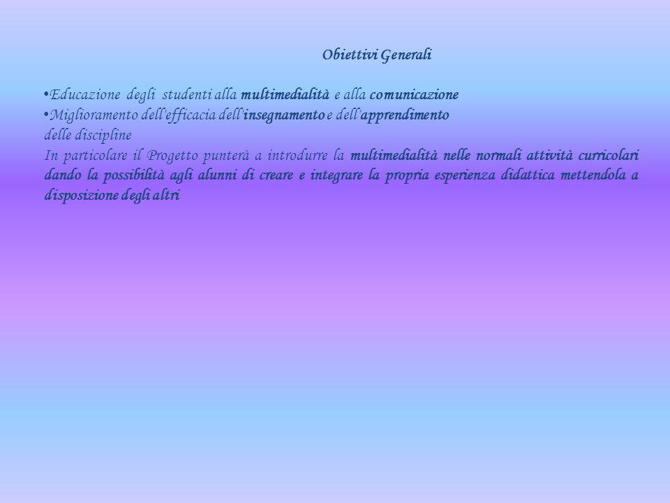 Obiettivi Generali. Educazione degli studenti alla multimedialità e alla comunicazione.