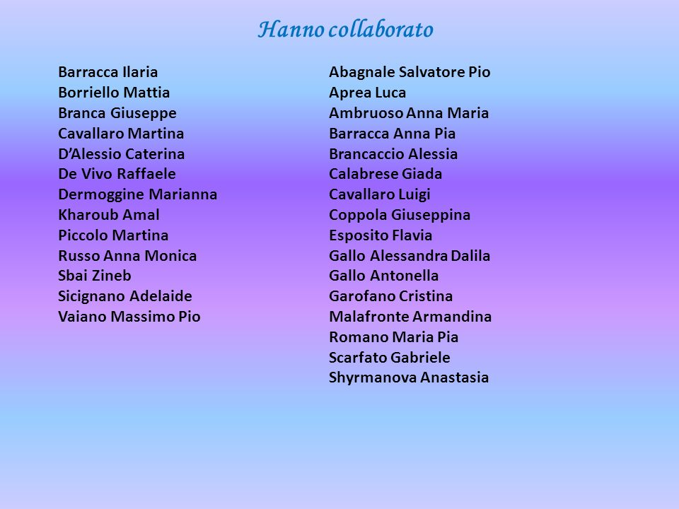 Hanno collaborato Barracca Ilaria Borriello Mattia Branca Giuseppe